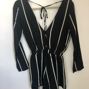 Lioness Striped Romper with Tie Back